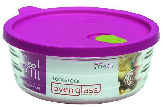 Lock & Lock LLG761 Boroseal mit Mikrowellen-Deckel rund 480 ml