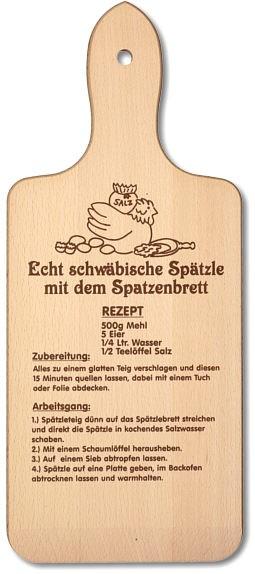 Spätzlebrett mit Einbrand Spätzle-Rezept ca. 35,5 x 15 x 1 cm