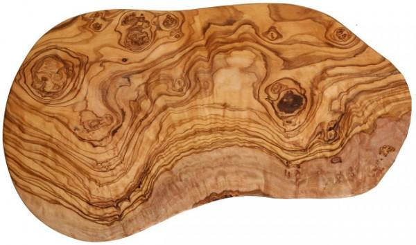 Olivenholz Schneidbrett Naturschnitt ca. 39 - 44 cm lang, 2 cm stark