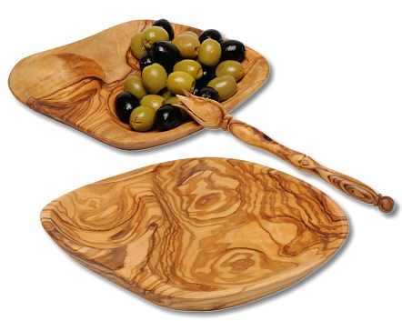 Olivenschale Olivenholz flach, diverse Formen ca. 16 x 11,5 cm