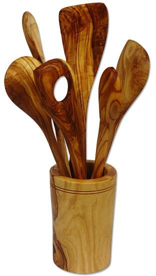 Olivenholz Köcher konisch mit 6 Kleinteilen ca. 15 cm hoch