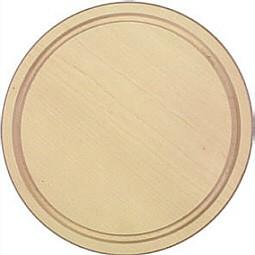 Schinkenteller hell rund mit Rille aus Ahorn Durchmesser 24 cm